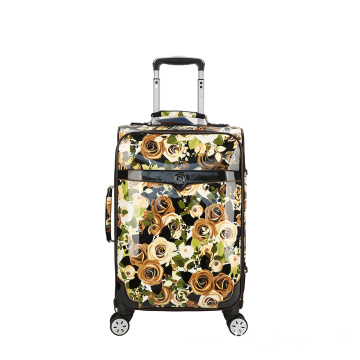 Super mute pattern pu luggage trolley